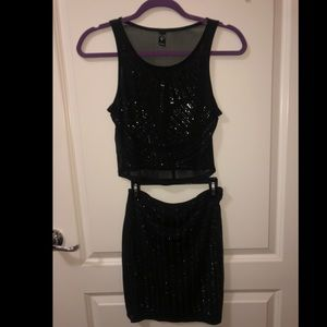 Crop top and mini skirt mesh outfit